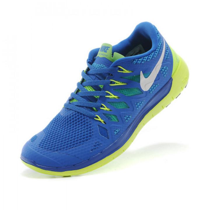 Кроссовки Nike free run 5.0 сине/салатовый 2014 New